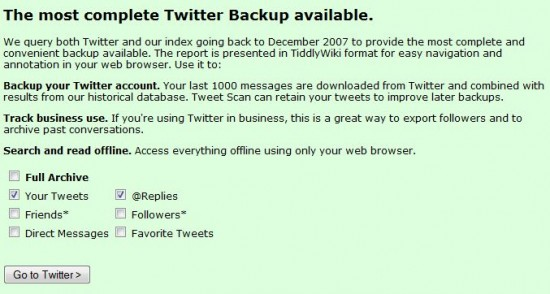 back up tweet scan