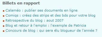 billets en rapport