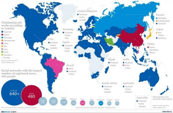 carte du monde réseaux