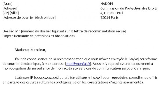 Lettre type de contestation hadopi blog du mod rateur - Reclamation reexpedition courrier ...