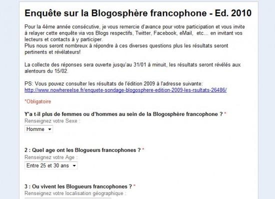 enquête blogosphère