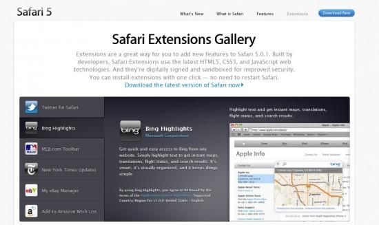 Extensions Safari