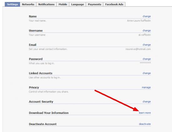 Télécharger ses données sur Facebook