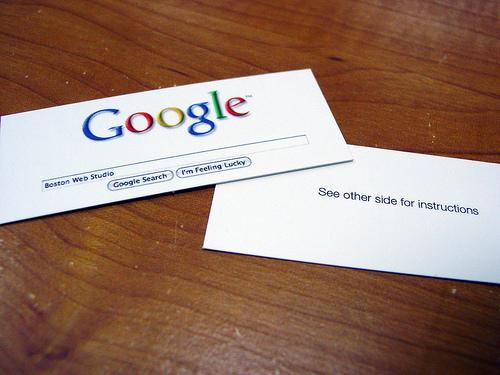 cartes de visite originales   google comme garant de sa
