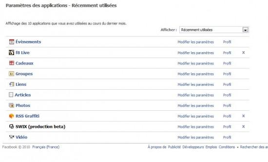 paramètres applications