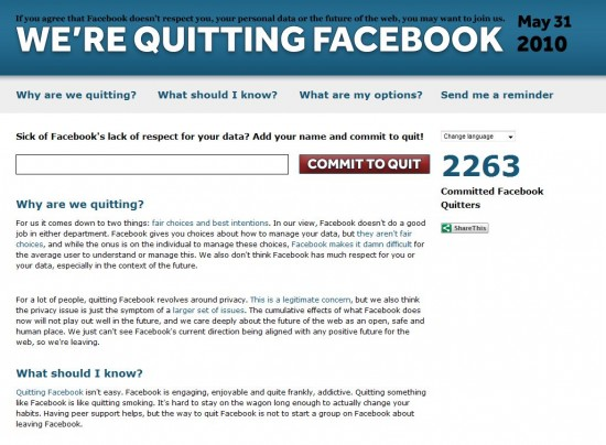 we're quitting facebook