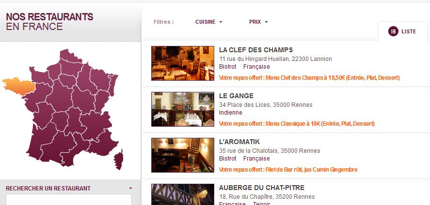 carte restopolitan liste restaurant Restopolitan : des repas offerts dans 250 restaurants en France (+