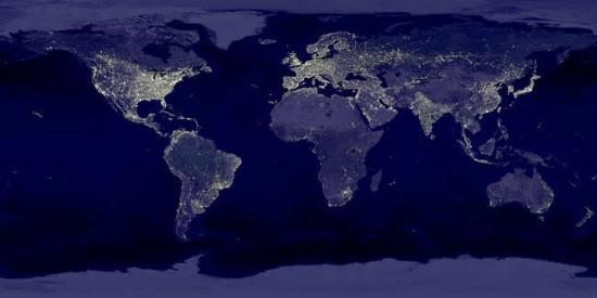 carte du monde de nuit