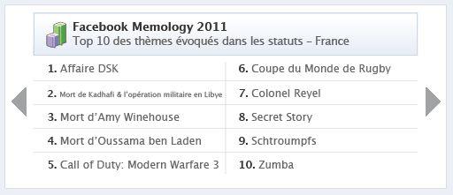 Facebook memology france 2011