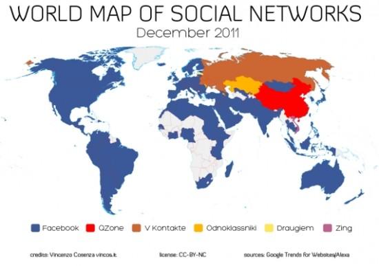 Carte du monde réseaux sociaux