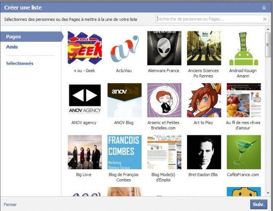 Liste d'intérêts Facebook