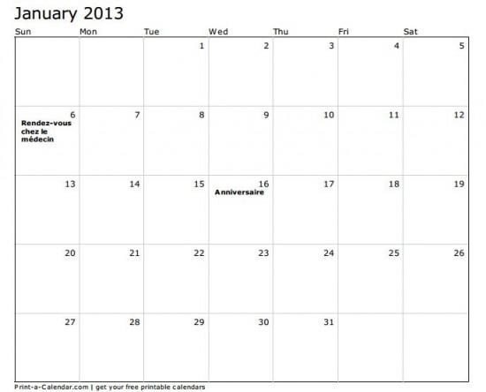 modele planning mensuel 2013