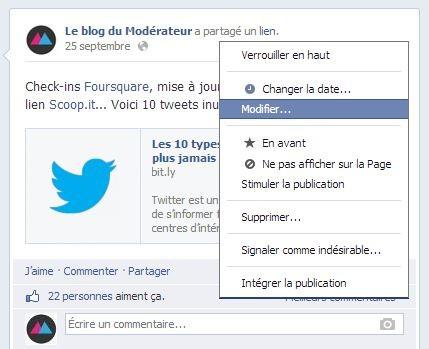 Modifier un statut Facebook, c'est enfin possible !