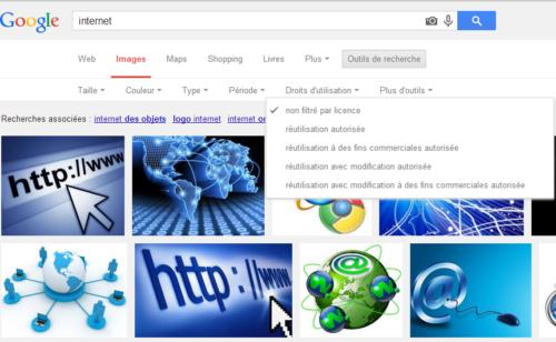 Chercher photos libres droit Google Images