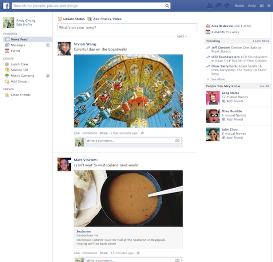 Le newsfeed ancienne version.