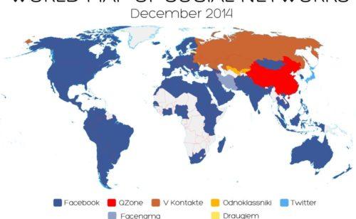 Facebook  réseau social n°1 93% pays monde