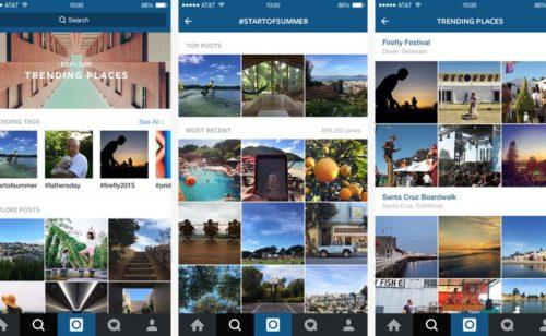 Nouveautés Instagram   trending topics  recherche lieux recherche unifiée