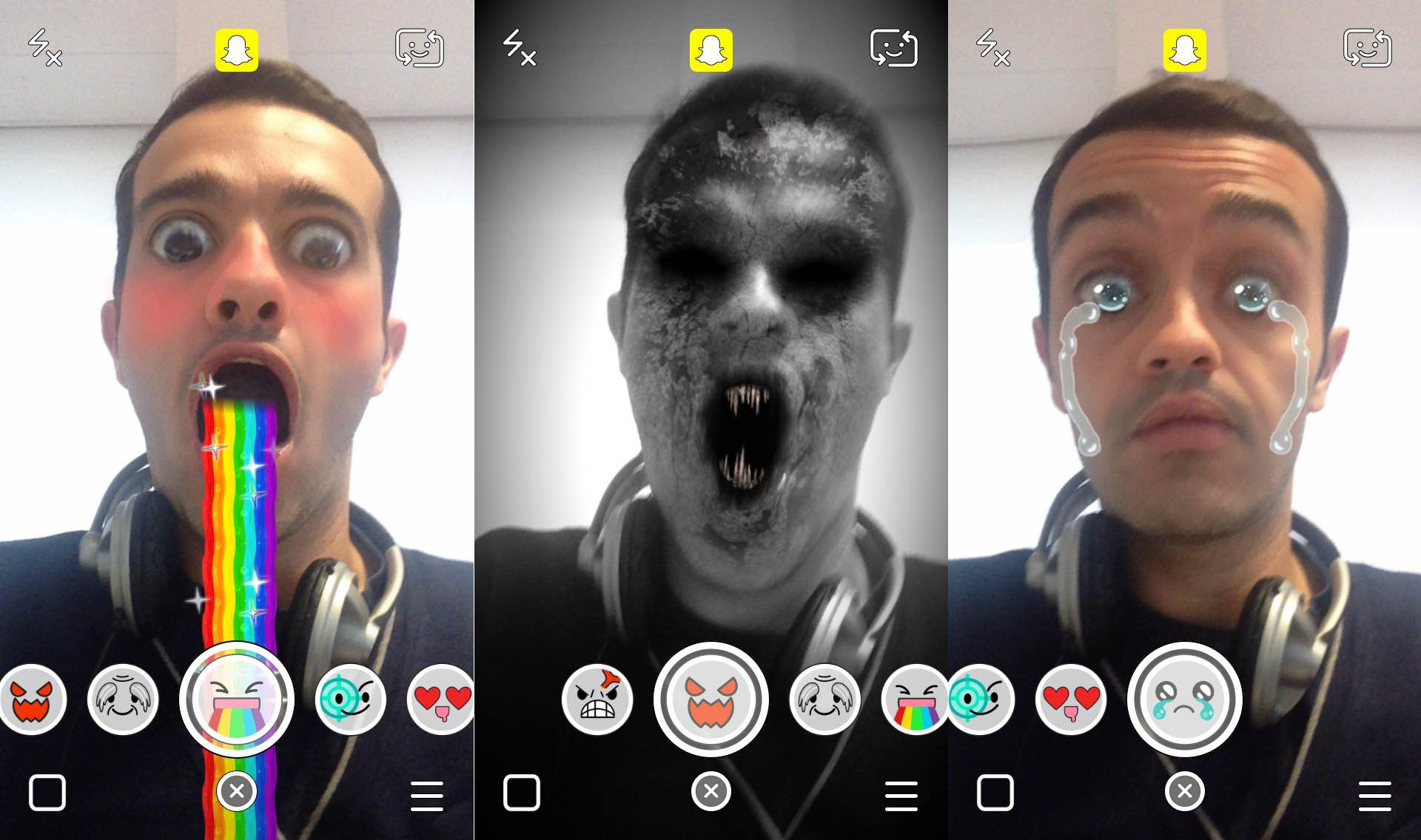 snapchat   nouveaux effets sur les selfies  bo u00eete  u00e0 troph u00e9es  version payante  u00e0  0 99 pour les