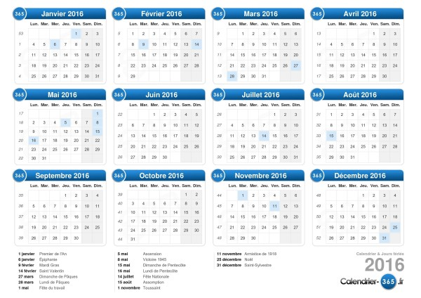 Calendrier 365.fr 2022 10 calendriers 2016 à imprimer   BDM