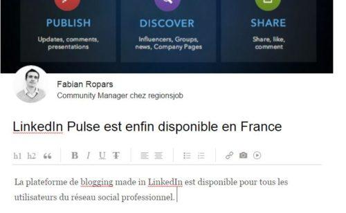 LinkedIn   l'outil blogging Pulse disponible France
