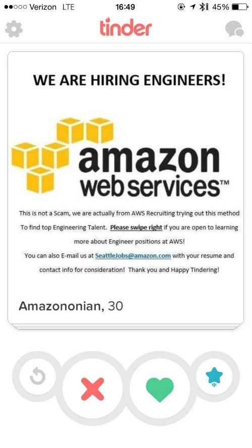 Amazon recrute sur Tinder