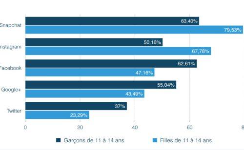 L'usage réseaux sociaux  web mobile chez 11-18 ans France