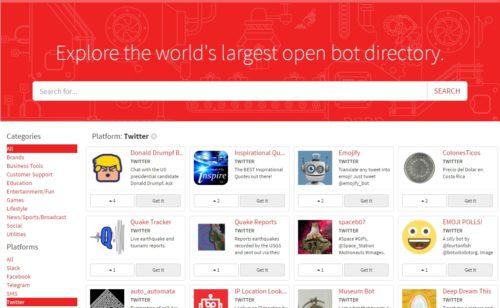 BotPages   moteur recherche bots Facebook Messenger  Slack  WhatsApp  Twitter…