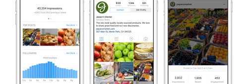 Instagram officialise enfin profils Business (pages entreprises) statistiques