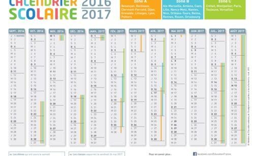 calendrier l'année scolaire 2016-2017