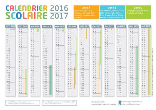Le calendrier de l 39 ann e scolaire 2016 2017 blog du mod rateur - Calendrier du jardinier 2017 ...