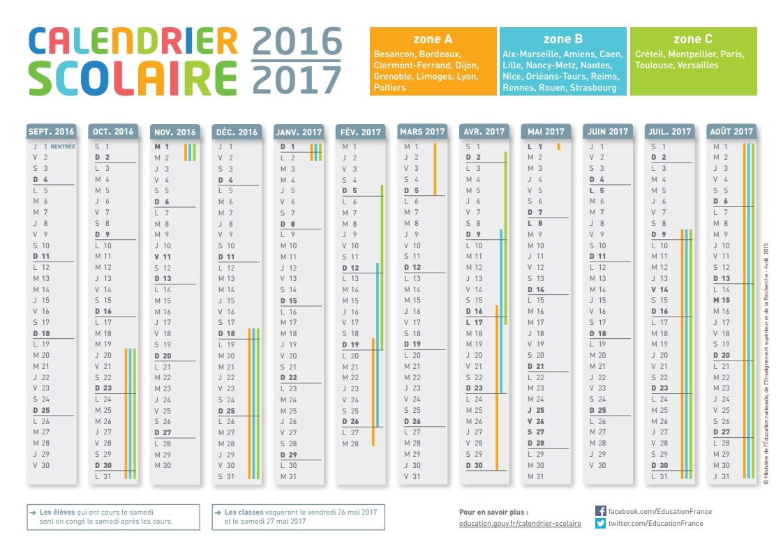 calendrier scolaire outlook 2016