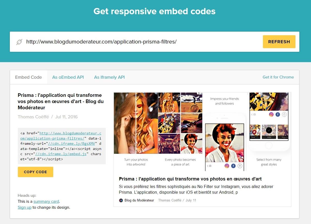 Iframely : générer un code Embed responsive pour n\'importe quelle ...