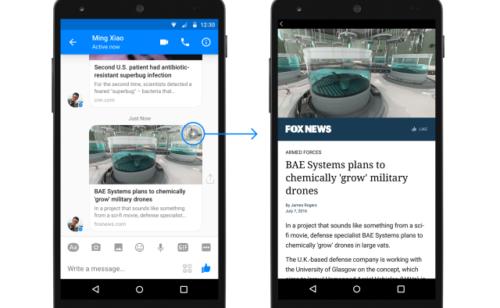 Facebook   Instant Articles intégrés Messenger