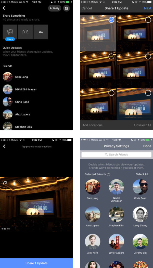 Facebook esp 233 rait concurrencer snapchat avec quick updates blog du