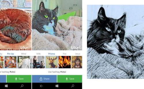 Vinci  l'alternative Prisma Windows Phone
