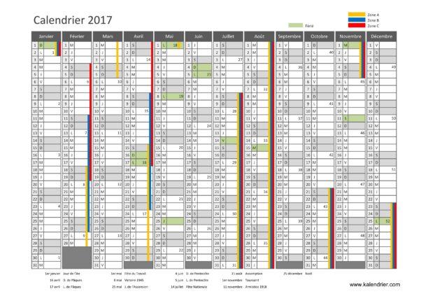 Calendrier 2017 avec les jours fériés et les vacances scolaires