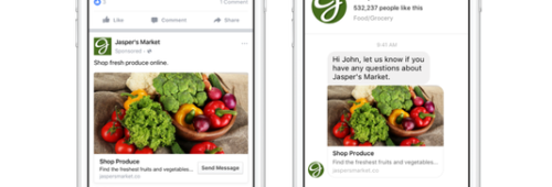 Facebook   nouveau format publicitaire promouvoir compte Messenger newsfeed