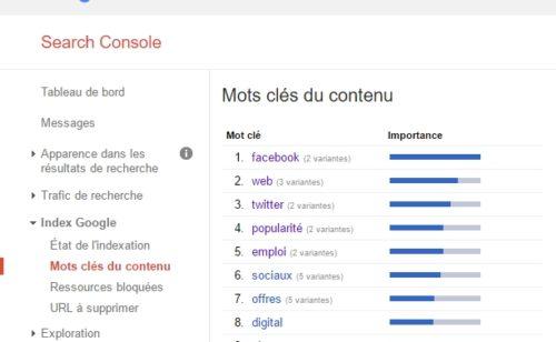 Google Search Console   rapport «Mots clés contenu»  c'est terminé
