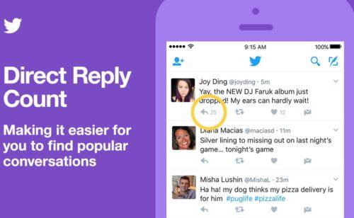 Twitter indique nombre réponses tweet facilite suivi conversations
