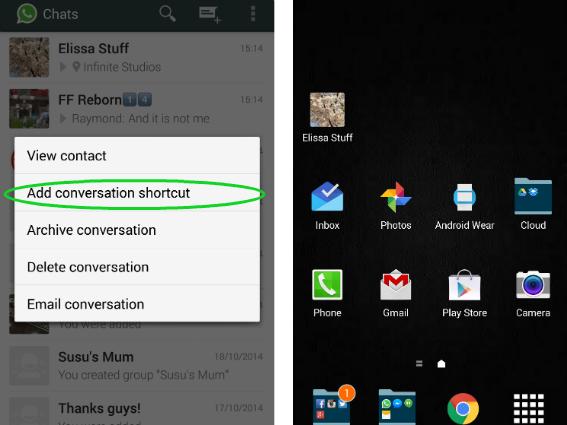 Shortcuts whatsapp conversation