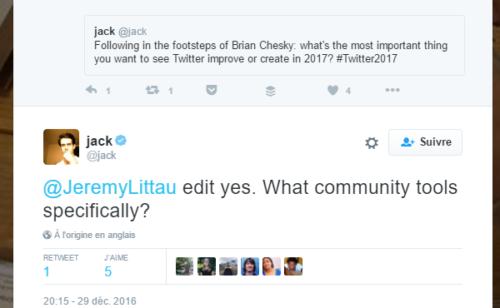 Twitter   Jack Dorsey évoque fonctionnalité correction tweets