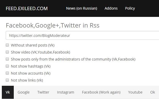 Obtenir le flux RSS d'une page Facebook, d'un compte Twitter, YouTube, Google+…