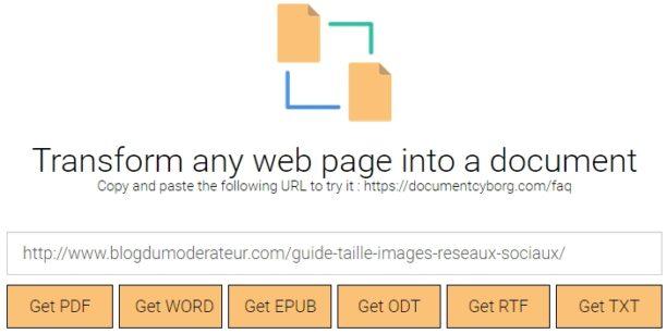 Un outil pour convertir une page web en fichier PDF ou Word