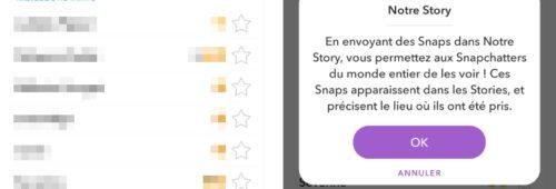 Snapchat   Notre Story  envoyer snap public géolocalisé
