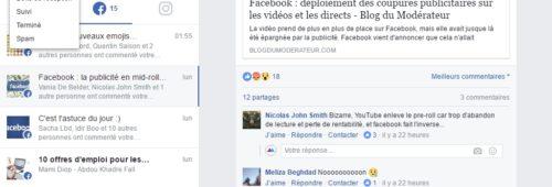 Pages Facebook   nouvelle boîte réception gérer messages commentaires