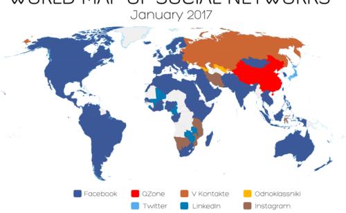 carte réseaux sociaux plus populaires 2017