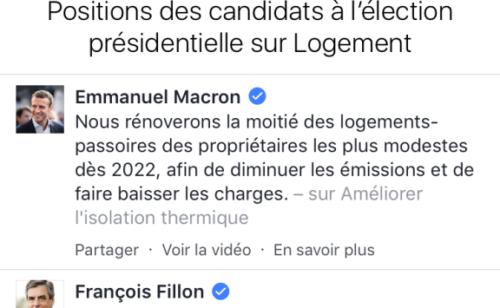 Facebook Perspectives  outil présenter programme candidats présidentielle