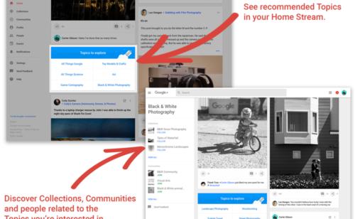 Nouveauté Google+   sujets découvrir
