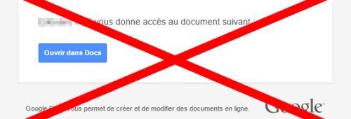 Google   piratage propage via Gmail  cliquez (faux) fichier Google Docs