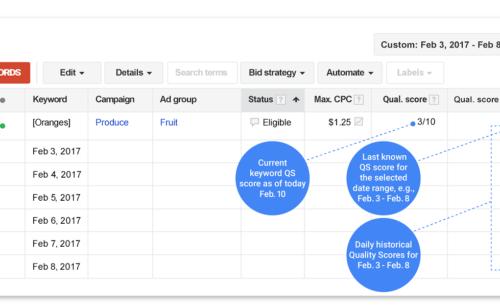 Google AdWords   accédez l'historique Quality Score annonces